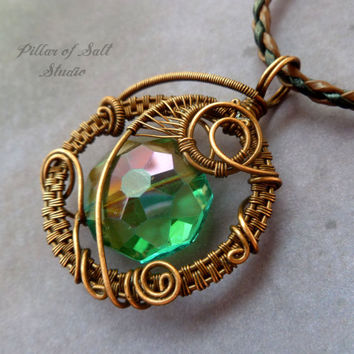 Wire wrapped pendant, Wire Wrapped jewelry handmade, copper jewelry, wire jewelry, teal faceted glass, boho jewelry, woven wire jewelry