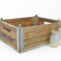 Antique Wood and Metal Dairy Crate / Rustic Industrial Storage Box
