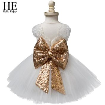 Baby girl dresses christening gown 2018 summer infants dress lace bow toddler baby princess birthday dress for baby girl clothes
