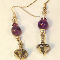 Dreidel Purple Earrings
