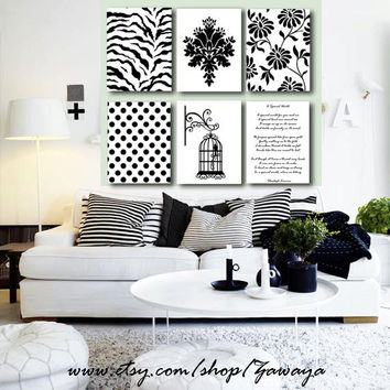 6 pieces black and white Home decor canvas print by Zawaya on Etsy