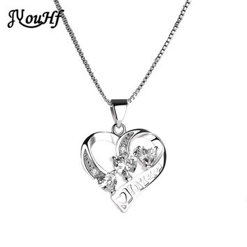 JYouHF Heart Austria Crystal Rhinestone Pendant Necklaces for Women Luxury Fashion Love Heart Shaped Necklaces Gifts Jewellery
