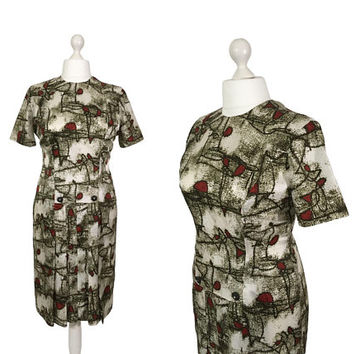 Midcentury Abstract Print Dress | UK 16/18 | 1960's Vintage Dress | Short Sleeve Pleated Dress | Rhinestone Buttons | Patterned Tricel Dress