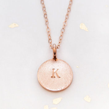 Rose Gold Initial Necklace - Rose Gold Circle Necklace - Handstamped Rose Gold Letter Necklace - Holiday Initial Necklace