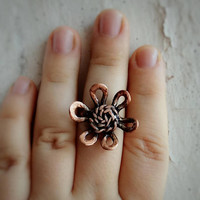 Flower ring Copper ring Nature ring Foral ring Stacking ring Boho rings Birthday ring gift  Gift for her Hippie rings Wire wrapped ring.