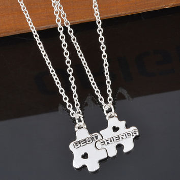 Hot Friendship Jewelry Necklace 2 Puzzle Pieces Slot Together Gift For Best Friends Puzzle Pendant Necklace For Girlfriend 2PCs