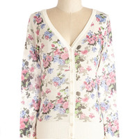 ModCloth Mid-length Long Sleeve Floral I Want is You Cardigan