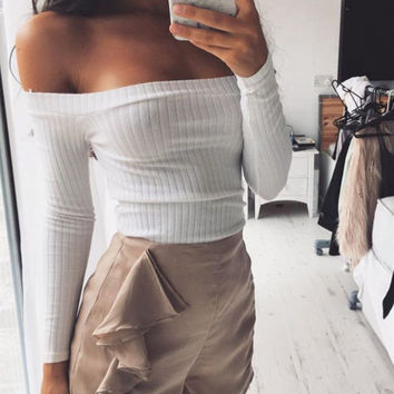 Fashion Long Sleeve Strapless Shirt Top Tee