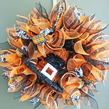 Halloween Black and Orange Deco Mesh Wreath with Tinsel Witch Hat