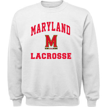 Maryland Terrapins White Lacrosse Flag Arch Crewneck Sweatshirt