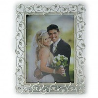 Lawrence Frames Metal Picture Frame with Crystals and Ivory Enamel in Silver - 859257 / 859280 - Decor