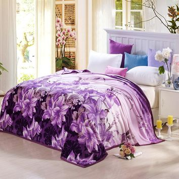 Lily flowers purple soft Blankets Fleece bedsheet winter bedding sofa Throws Twin Queen King Full size plaids winter summer rug