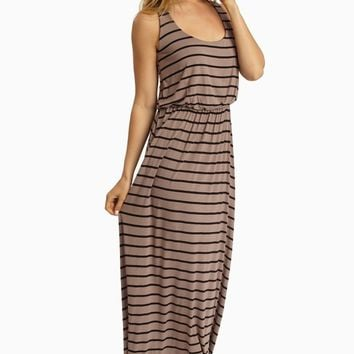 Mocha Black Striped Racerback Maxi Dress