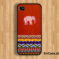 Aztec Elephant on Wood Design: Iphone 4/4s case Iphone 5 case