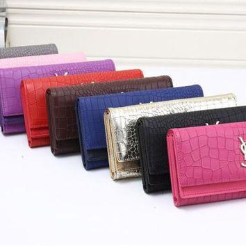 DCCK Yves Saint Laurent YSL' Women Fashion Crocodile Pattern Long Section Purse Three Fold Multi-card Bit Wallet Handbag