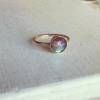 8mm Rose Cut Labradorite and Gold Stacking Ring - custom made to size