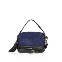 River Island Womens Navy leather snake print suede cross body bag
