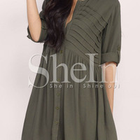 Army Green Long Sleeve Dress -SheIn(Sheinside)