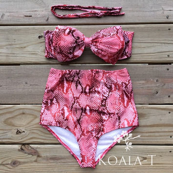 Red Snakeskin Print Bow Bandeau High Waist Bikini! Limited Edition