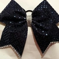 CHEERLEADING BOW - FULL NAVY SEQUINS (original) with SILVER RHINESTONE EDGING & TAILS - BIG 3 inch wide CHEER BOW on Elastic PONY - O THIS BOW COMES IN MANY OTHER COLORS ALSO