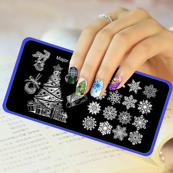 Christmas Image Stamp Template Xmas Tree Snowflake Nail Art Stamping Plates Stainless Steel Stencils For Nails JH427