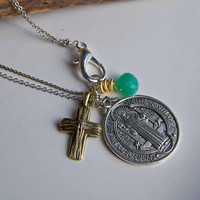 Etsy, Etsy Jewelry, Charm Necklace, Christian Necklace, Catholic Necklace, Cross Necklace, Beaded Necklace, Long Necklace, St. Benedict