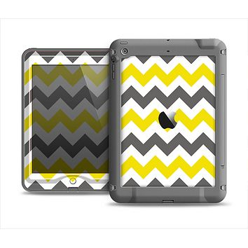 The Gray & Yellow Chevron Pattern Apple iPad Mini LifeProof Nuud Case Skin Set