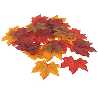 Decorative Fall Leaves Plastic Autumn Decor, 40-Count