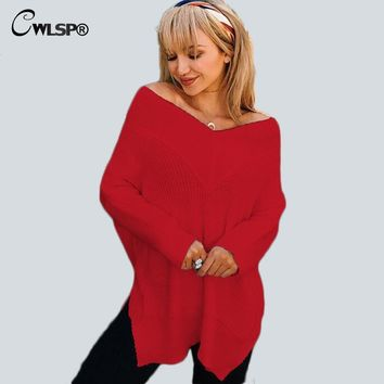 CWLSP Sexy Deep V Neck Women Winter Sweaters and Pullovers Knit Off Shoulder Loose Casual fashion sweaters women QL3358