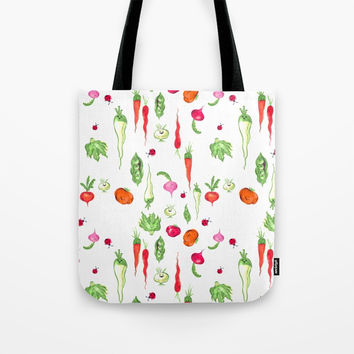 Veggie Party Pattern Tote Bag by Magenta Arts Studio
