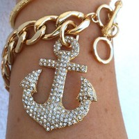 Gem Paved Anchor Charm Curb Chain Bracelet from Fairy Tale Accessories
