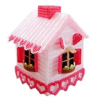 Plastic Canvas Cross Stitch kit Tissue Box house