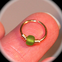 Small Cartilage Earrings, 14k Gold Filled Lime Green Beaded Nose Ring, Nose Hoop, Cuff, Helix Hoop, Nose Rings, Piercing Jewelry
