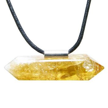 Brazilian Double Terminated Healing Charm Crystal Point Citrine Gemstone Amulet Pendant Necklace
