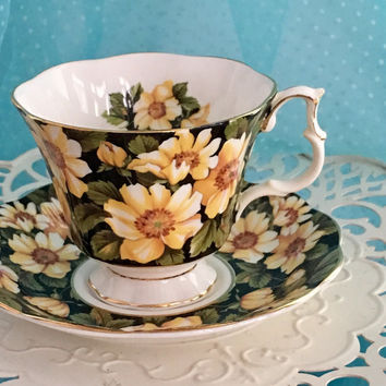 Vintage Royal Albert Cup and Saucer, Diana Pattern, Yellow, China Tea Cup, Teacup Set, English Bone China, Birthday Gift Friend