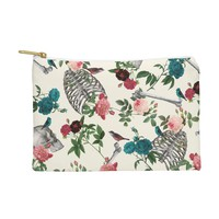 Belle13 Skulls Birds And Roses Pouch