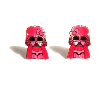 hello vader earrings, pink, geekery, geek earrings, nerd earrings