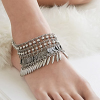 Medallion Fringe Beaded Anklet