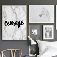 "Motivational Quote Poster ""Courage"" Home Office Dorm Living Room Decor [UNFRAMED]"
