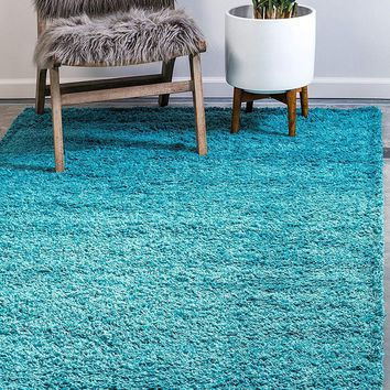 8000 Turquoise Solid Color Shag Area Rugs