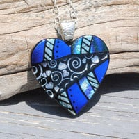 Dichroic Glass Pendant, Fused Glass Jewelry, Original Heart Design, Love, OOAK - Color Shifting Cobalt Blue to Purple (Item #10677P)