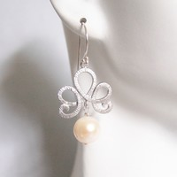 Pearl Wedding Earrings- Wedding Jewelry- Bridal Jewelry-Fresh Water Pearl Dangle Drop Earrings-June Birthstone Earrings