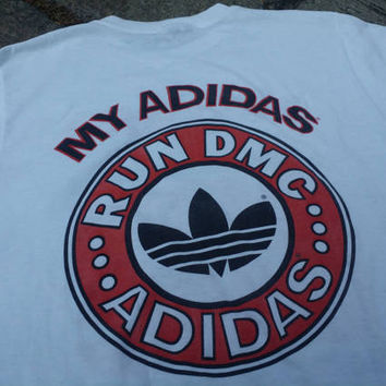 Vintage 80s My ADIDAS RUN DMC Concert Promo Shirt Super Rare 1980 Deadstock Hip Hop