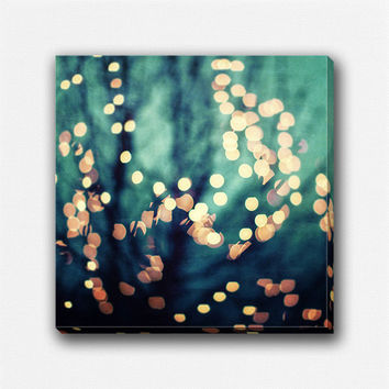 Abstract Art in Teal, Abstract Canvas Art, Square Canvas, Aqua Gold, Bokeh Photography, Holiday Decor, Dreamy Art, Surreal Wall Art Canvas.