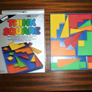 Vintage 1984 'Think Square' - The Mysterious Solitaire Challenge / Retro Travel Game / Fit the Pieces to Form a Large Square