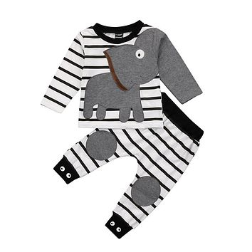 Fashion Children Clothing Newest Spring Costmues Casual Toddler Kid Girl Boy 3D Elephant Top Sweatshirt Long Pants Outfits