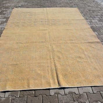 Aztec  Hallway Rug, Kitchen Traditional Rug, Knotted  Yellow Rug, Vintage Rug , 6.8X10 Ft AG305