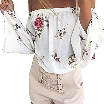 ECOWISH Womens Shirts Sexy Off Shoulder Bell Sleeve Floral Print Shirts Casual Strapless Blouse Tops