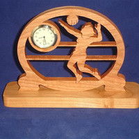 Volleyball Player Desk Clock Handcrafted From Cherry Wood