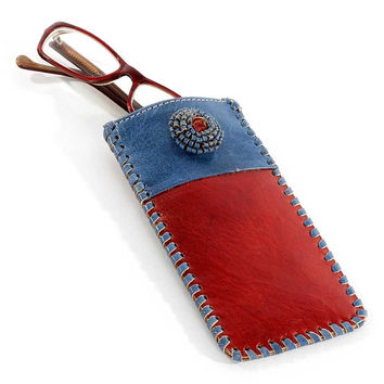 Leather Rosette Eyeglass Case
